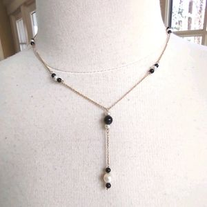 14k solid gold VTG chain onyx and pearl necklace